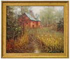"""Oil Painting of Landscape a Small Stream beside House into the Woods 20*24"""""""