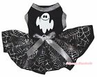 Halloween White Ghost Black Top Black Silver Cobweb Tutu Pet Dog Puppy Dress