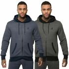 Kangol Mens Fitted Hoodie Ribbed Slouch Lounge Sweater Hoody Zip Outerwear Top