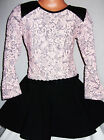 GIRLS BLACK LIGHT PINK FLORAL QUILTED LEATHERETTE TRIM SKATER PARTY DRESS