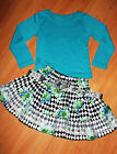 GIRLS TURQUOISE BLUE TOP & FLORAL HARLEQUIN PRINT LACE TRIM COSPLAY RUFFLE SKIRT