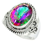 Multi Color Rainbow Topaz 925 Sterling Silver Ring Jwelry Size 8.5 K49738
