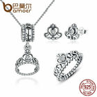 Bamoer S925 Silver Crown Jewelry Set & CZ Necklace Ring Stud