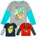 Boys Official Pokemon Charmander Skater Long Sleeve T-Shirt Top 4 to 12 Years