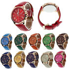 Fashion Geneva Womens Leather Band Stainless Steel Quartz Analog Wrist Watch image