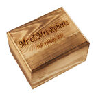 Personalized Rustic Wedding Present Box Memory Engraved Trinket Gift Case Brown