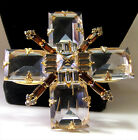 "Confirmed SCHREINER UNsigned 3 1/2"" Crystal Rhinestone Cross Brooch Pin Pendant"