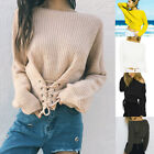 Women Sexy Off Shoulder Batwing Sleeve Lace Up Front Sweater Knitwear Pullover