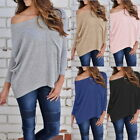 Women's Off Shoulder Knitted Tops Long Sleeve Shirt Casual Blouse Loose T-shirt