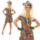 80s Fancy Dress Party Animal Ladies Costume Neon Rave Eighties Womens Outfit