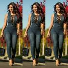 Women Fashion Lace-up Long Denim Overall Jumpsuit B20E