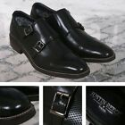 Justin Reece Classic Perforated Leather Buckle Monk Shoe Smooth Black
