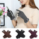 Women Winter Warm Cashmere Full Finger Mittens Touch-Screen Glove With 2 Buttons