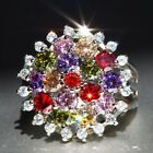 Exquisite Multi Sapphire 925 Silver Filled Birthstone Engagement Wedding Rings