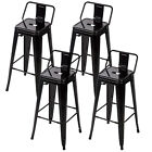 30'' Metal Frame Tolix Style Bar Stools Industrial Chair with Back, Set of 4