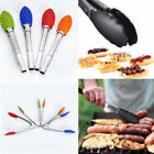 Silicone Cooking Kitchen Tong BBQ Food Clip Clamp Handle Stainless Steel Tool