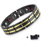 Magnetic Wristband 14mm Mens Bracelet Chain Stainless Steel Watchband Black Gold