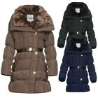 Warme Luxus Mädchen Kinder Winter Stepp Jacke Mantel Fellkragen 98 - 176