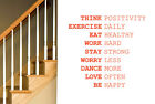 Think Positivity Exercise Daily Work Hard Wall Stickers Viny