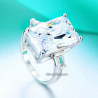 925 Sterling Silver Radiant Cut 8.5 Carat Engagement Ring Simulated Diamond