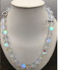 Natural 6/8/10/12mm silver Gleamy Rainbow Moonstone Round Gems Necklace 18''