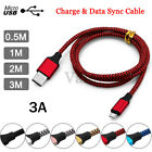 0.5/1/2/3M 3A Fast Charging Micro USB Cable For Samsung S7/S6 HuaWEI P8 Phones