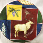 "AMERICAN ATELIER NORTHERN NIGHTS SALAD PLATE 8 1/4"" DEER ON RED PINE CONE"