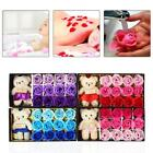 12pcs Scented Soap Flower Roses Valentines Day Cute Teddy Gift Box Petals Decor