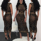 Sexy Women Clubwear Sleeveless Party Dress Bodycon Long Skirt Transparent Club