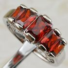 Size 5.5 6.5 8 9 Beautiful Garnet Red Gems Jewelry Gold Filled Woman Ring K1767