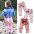 Toddler Kids Baby Girls Princess Velvet Bowknot Bottoms Pants Leggings Clothes