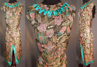 Vintage Art Deco Colorful Floral Gold Lamé Lame Fabric Remade 1960s Shift Dress