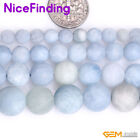 """Natural Frost Matte Blue Aquamarine Precious Stone Beads For Jewelry Making 15"""""""