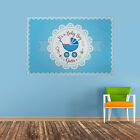 Personalised Baby Shower Banner Blue Pram Flag Party Decoration 3 X 2 FT