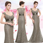 Ever Pretty Mother of the bride Long V-neck Evening Coffee Mermaid Dress 08798