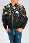 DSQUARED2 D2 Nw Man Black Embroidered CHERRY BLOSSOM Bomber Jacket Made in Italy