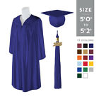 "Standard SHINY Graduation Cap and Gown with Matching 2018 Tassel - Size  5'0""-5'"