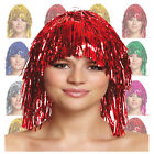 Shiny Foil Wig Gold Silver Red Metallic Tinsel Wig Costume