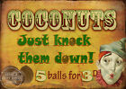 THE COCONUT SHY  VINTAGE STYLE FUNFAIR CIRCUS METAL SIGN : 3 SIZES TO CHOOSE