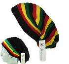 RASTA Reggae Oversized Slouch Pull On Knitted Beanie Cap Hat Striped Unisex