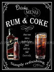 RUM AND COKE RETRO PUB,BAR,CLUB,  HOME BAR,METAL SIGN :3 SIZES TO CHOOSE FROM