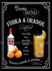 VODKA & ORANGE RETRO PUB,BAR,CLUB,  HOME BAR,METAL SIGN :3 SIZES TO CHOOSE FROM