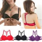 Womens New Sexy Ladies Front Closure Lace Racer Back Push Up Seamless EN24H 01