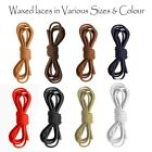 WAXED COTTON ROUND SHOE BOOT LACES SHOELACES - SEVERAL COLOURS - 5mm