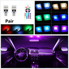 2X Car T10 RGB 12 LED Interior Reading 12V Remote Controller Multicolored Light