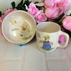 Vintage 1930s Royal Art Pottery Baby Ceramic Feeding Duck Pink Bowl & Cup