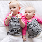 USA Little Big Sister Toddler Baby Girls Cotton T-shirt Tops Matching Outfits