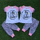 Infant Baby Little Sister Big Sister T-shirt Top Pants Cotton Clothes Outfit USA