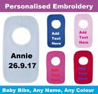 Personalised Embroidered Pull Over Baby Bib Any Name Newborn Toddler Customised