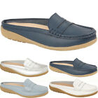 Womens New Slip On Casual Ladies Real Leather Chic Mules Loaders Shoes Sizes UK